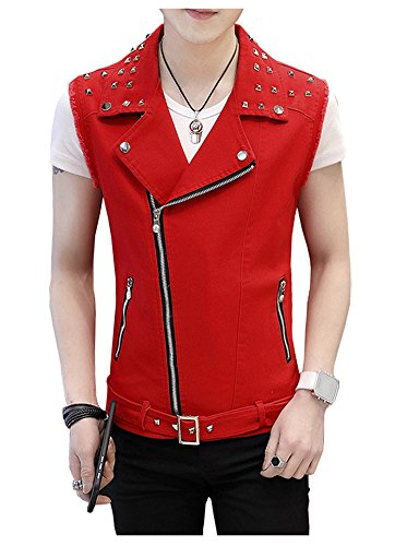 LifeHe Men's Sleeveless Lapel Punk Zipper Denim Jean Vests Jacket with Rivets (Red, M)