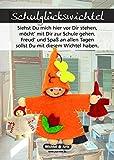 Wichtel Arts Schulwichtel Glücksbringer, Holz, Orange mit roter Blume, 15 x 10.5 x 2.7 cm