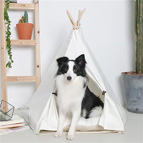 Ruick Pet Indian Tipi Zelt Baumwolle Play House für Katzen Hunde(L,mit Kissen)