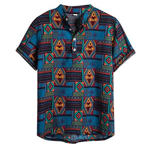 Yowablo Hemdbluse Mens Ethnic Short Sleeve Lässige Baumwolle Leinen Druck Hawaiian (M,15Blau)