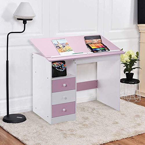 Tangkula Drawing Desk Drafting Table Adjustable Top Art Craft w/Drawers