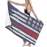Ewtretr Toalla de Playa Baseball US America Flag Microfiber Beach Towels Quick Dry Super Absorbent Bathing SPA Pool Towels for Swimming & Outdoor, 31'x 51'