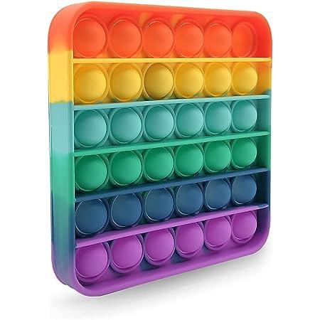 スクイーズ玩具フィジェットおもちゃ プッシュポップポップ バブル感覚 減圧グッズ ストレス解消 インテリジェンス発展 洗える可能 子供大人兼用