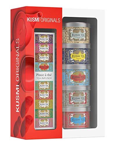 Kusmi Tea – Geschenkset Kusmi Originals + Teezange – Auswahl berühmter Schwarztees – Earl-Grey-Tee und Ceylan-Tee – mit Blüten, Gewürzen, Zitrusfrüchten und roten Früchten aromatisiert – 5x Teedosen aus Metall