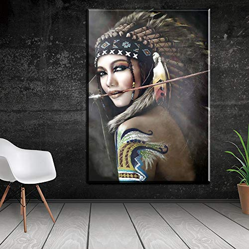 liwendi Retrato De La Lona De Arte Cuadro De La Pared para La Sala De Estar Mujer India Plumas Orgullosas Pintura Decoración del Hogar De Impresión 60 * 90 Cm