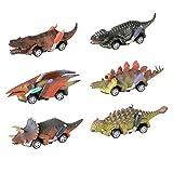 Wenosda 6 stücke Zurückziehen Dinosaurier Autos Mini Dino LKW Spielzeug Drachen Fahrzeug mit Reifen Rad Kreativität für Kinder / Kinder / Kind / Kleinkind (13x3.5x3.5 cm/5 x1.4X 1.4 Zoll) (Set DREI)