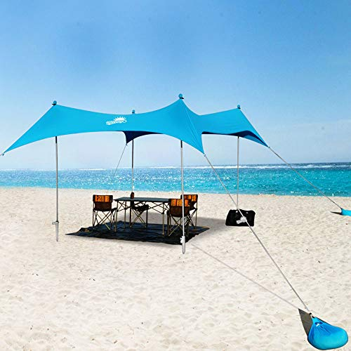 WINNINGO Premium Beach Sunshade, Large Sun Shade Canopy 10' x 9', Beach Tent with 4 Aluminum Poles, 4 Pole Anchors, Waterproof Carry Bag & Bonus Tarp Mat, UPF50 UV Protection (Sky Blue)