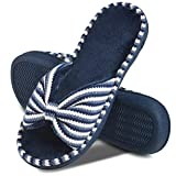 DL Women's Memory Foam Open Toe Slide Slippers with Cute Bow and Cozy Terry Lining, Slip-on House Shoes Spa Mules Sandals with Indoor Outdoor Rubber Sole, Navy, 9-10