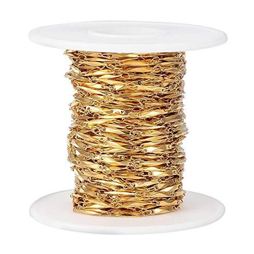 joyMerit Cadena de Cable de Eslabones de Acero Inoxidable Chapado en Oro de 33 Pies con Carrete para Hombres, Mujeres, Cadena de Joyería, Fabricación de Bricol