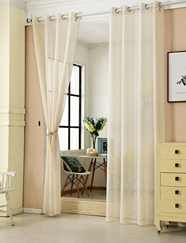 WOLTU® VH5861cm-2, 2er Set Gardinen transparent mit Ösen Leinen Optik, Doppelpack Ösenschal Vorhang Stores Voile Fensterschal Dekoschal für Wohnzimmer Kinderzimmer Schlafzimmer, 140x245 cm, Crème