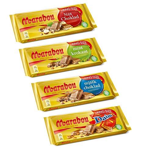 Marabou Kingsize Schokoladenvariation, 1x Mjölk Choklad, 1x Daim, 1x Mint Korkant, 1x Nöt Choklad, 4er Pack, (4x250g)