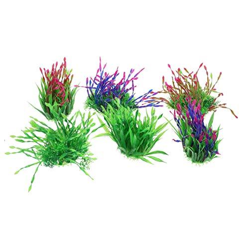 QULONG Decoraciones de jardín de Acuario 10 Piezas Plantas acuáticas Artificiales Adorno de Paisaje de Algas de plástico para pecera de Acuario Color Aleatorio