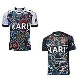 JUNBABY Maillot Rugby 2020 Indigenous, All Stars Rugby T-Shirt, Nouvelle Version pour des Hommes Chemise Sport-Black-L