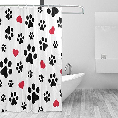 JSTEL Duschvorhang mit H&e- & Katzenpfoten-Herz-Motiv, schimmelresistent & wasserdicht, Polyestergewebe, 183 x 183 cm, für Zuhause, extra lang, dekorativ, mit 12 Haken