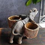 Figura Decorativa para jardín Volver Cesta De Elefantes Estatuilla Impermeable FRP Jardín Estatua Para Patio Paisaje Césped Decoración Manualidades Regalo - 15 * 14 * 12 Cm A