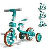三輪車 子ども用 3 in 1 ペダルなし自転車 バランスバイク 2-4歳 ランニングバイク 子供用 持ち運びやすい 幼児に向け プレゼント アウトドア 室内兼用 調整可 簡単組み 誕生日プレゼントに最適(グリーン)