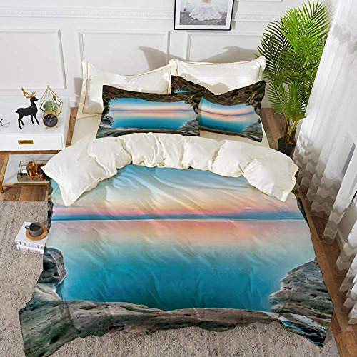 161 Natural Cave Decorations,Fairy Image of the Horizon Inside Hidden Grotto Upper Paradise,Hypoallergenic Microfibre Duvet Cover Set 260 x 220cm with 2 Pillowcase 50 X 80cm