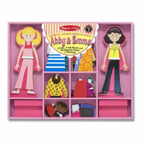 Abby & Emma - Magnetic Dress Up Wooden Doll & Stand + FREE Melissa & Doug Scratch Art Mini-Pad Bundle [49405]
