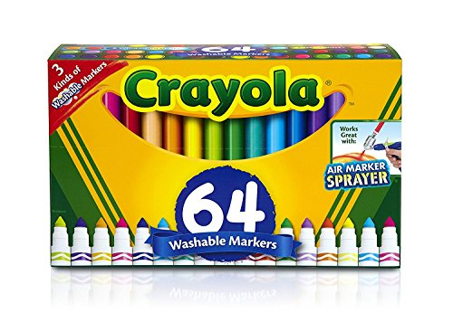Crayola Washable Marker Set, Gift for Kids, Gel Markers, Window Markers, Broad Line Markers, 64Count