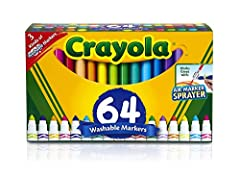 CRAYOLA MARKERS VARIETY PACK: Features 48 Ultra-Clean broad line markers offering 32 different colors with duplicates of the 16 most popular colors, 8 Washable window markers and 8 gel FX markers. WASHABLE MARKERS: All 3 types of markers in this set ...