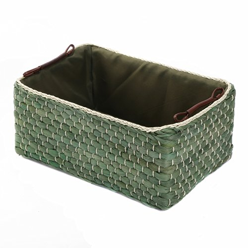 Kingwillow Aufbewahrungskörbe für Schubladen, gewebtes Maiskörbchen (grün, groß)