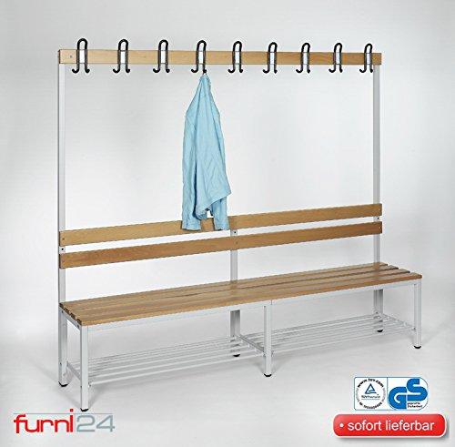 furni24 Umkleidebank Sitzbank Garderobenbank Sportbank einseitig mit Garderobenhaken und Schuhrost 200 cm x 170 cm x 43 cm