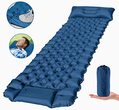 FEELLE Isomatte Camping Selbstaufblasbare, Ultraleichte Aufblasbare Luftmatratze mit Kissen Schlafmatte Campingmatratze für Camping, Reise, Outdoor, Wandern, Strand