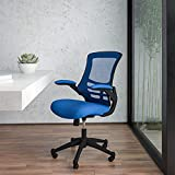 Flash Furniture Mid-Back Blue Mesh Swivel Ergonomic Task Office Chair with Flip-Up Arms