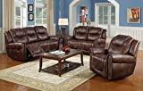 Ainehome Recliner Sofa Bonded Leather Set 3 PCS Motion Sofa Loveseat Recliner Sofa Recliner Couch Manual Reclining Chair 3 Seater for Living Room (Brown,3 Piece Set)