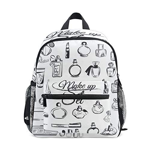 White Art Makeup Things Toddler Backpack Bookbag Mini Shoulder Bag for 1-6 Years Travel Boys Girls Kids with Chest Strap Clip Whistle