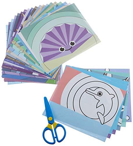 Lena 42632 My First Bastelset Schneide mit Mir Meerestiere, Komplettset mit Kunststoff Kinderschere, 26 lustige Tiere zum Ausschneiden und Ausmalen, Bastel Set und Malset für Kinder ab 3 Jahre