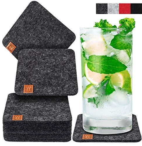Miqio® Design Glasuntersetzer - Filz und Leder - Waschbar - 10er Set Getränke Untersetzer mit Echtleder Applikation