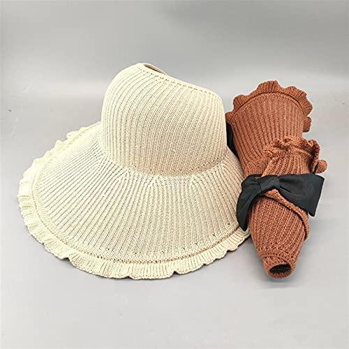 GPQHSM Sommersonne Hüte Big Krempe Klassische Bowknot Faltbare Mode Strohhut Casual Outdoor Beach Mütze Für Frauen Schutzhut (Color : B Beige, Size : 57CM)