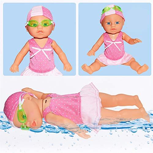 Alecony Schwimmen Babypuppe, Elektrische Interactive Schwimmen Puppe mit Schwimmbrille, Kids Mädchen Badepuppe, Baby Badespaß, körperpuppe Funktionspuppe, Schwimmen Puppen, Schwimmpuppe Swimmer