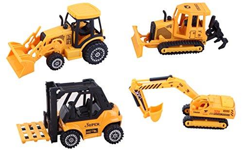 ToyZe Juego de vehículos de construcción de metal fundido y plástico de 5 pulgadas, bulldozer, carretilla elevadora, tractor con cargador frontal y excavadora, paquete de 4 unidades. TR-F4