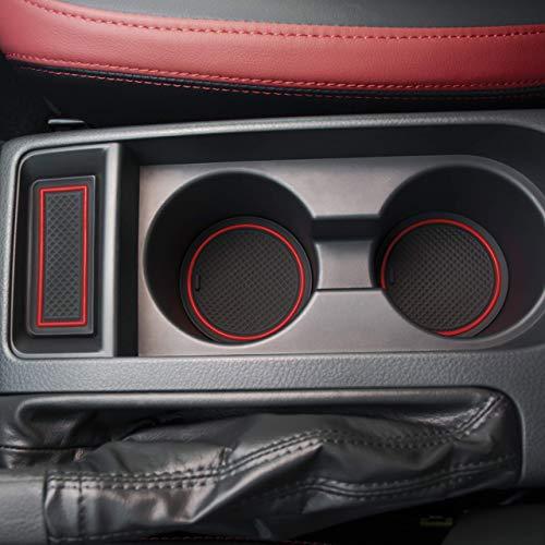 SENSHINE Cup Liner Door Mat for Subaru WRX 2015 2016 2017 2018 2019 2020 Center Console Liner Insert Accessories Kit Custom Fit Black Trim