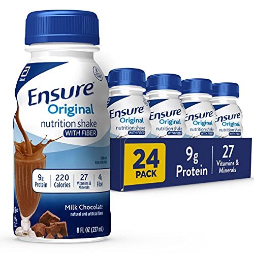 Ensure Original Nutrition Shake with Fiber, Small Meal Replacement Shake, Complete, Balanced Nutrition with Nutrients to Support Immune System Health, Milk Chocolate, 8 fl oz, 24 Count