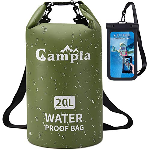 Campla Waterproof Dry Bag Backpack for Kayaking 20L, Roll Top Lightweight Floating Waterproof Bag Dry Sack w/Strap and Watertight Phone Case for Boating,Swimming,Beach, Fishing and Water Sports Green