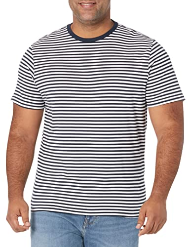 Amazon Essentials - Pack de 2 camisetas de manga corta con cuello redondo y diseño a rayas para hombre, Azul marino/Blanco, US S (EU S)