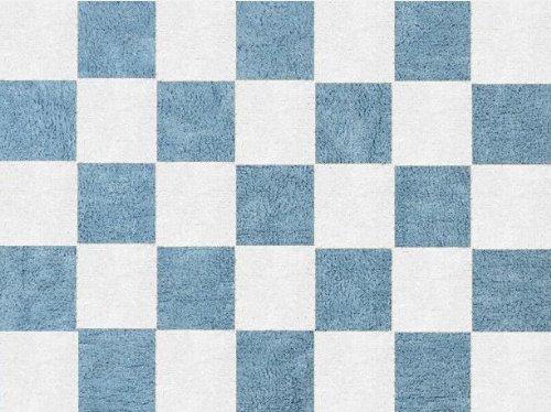 Aratextil. Alfombra Infantil 100% Algodón lavable en lavadora Colección Damero Celeste 120x160 cms
