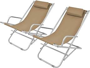 vidaXL Ligstoel met Kap Inklapbaar Staal Taupe Ligbed Zonnestoel Tuinstoel
