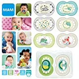 New: MAM Day & Night Soothing Set, juego de regalos para bebés de +6 meses, 4 chupetes de silicona Original +6 (2x día y 2x noche) y otros 4 para +16 (2x día y 2x noche),Unisex