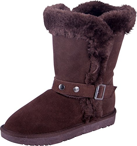 Almwerk Damen Winter-Stiefel Boots Schlupf-Stiefel aus Echtleder warm gefüttert in verscheidenen Farben, Braun, 41 EU