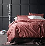 Solid Color Egyptian Cotton Duvet Cover Luxury Bedding Set High Thread...