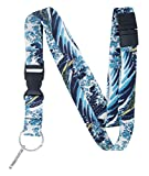 Limeloot Hokusai The Wave Premium Lanyard with Breakaway, Release Buckle and Flat Ring.