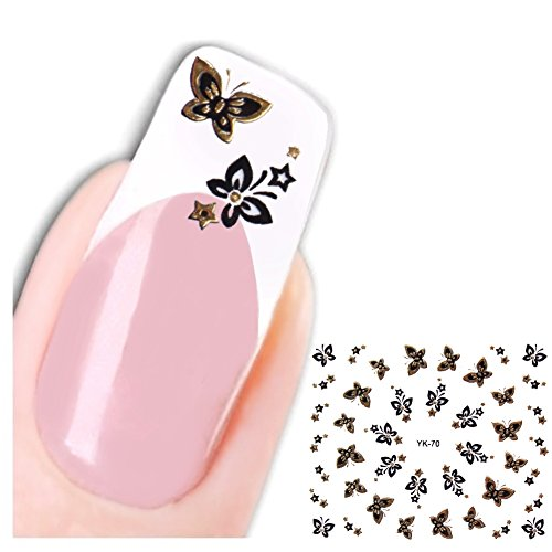 Just Fox – 3D Stickers Nail Art pour ongles Butterfly Papillon Kultpiercing autocollants Water decall