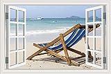 Summer Beach Sunshine Recliner Kokosnussbaum blauer Himmel Seewolken Natur Landschaft Landschaft Wandaufkleber 3D Fenster PVC Aufkleber Tapete Schlafzimmer Dekor Wandbild