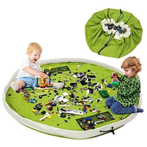 BELLESTYLE Kinderspielzeug-Aufbewahrungsbeutel, Baumwoll-Segeltuch-bewegliches großes einfaches aufgeräumtes Spiel u. Aufbewahrungs-Matte - schnellere Aufräumung! (Grün, 150cm)