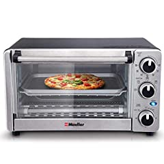 "★ EVEN TOAST TECHNOLOGY - The toaster oven interior is specially designed for even toasting of up to 4 slices of bread at a time and the sleek compact design fits nicely on your counter-top, while the curved interior makes room for a 9"" pizza or 4 sl..."