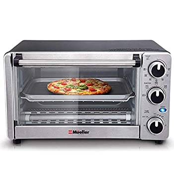 Toaster Oven 4 Slice Multi-function Stainless Steel Finish with Timer - Toast - Bake - Broil Settings Natural Convection - 1100 Watts of Power Includes Baking Pan and Rack by Mueller Austria